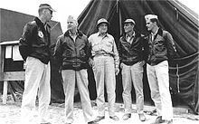 On Okinawa in April 1945: Maj Axtell, CMC Vandegrift, MajGen Mulcahy, Maj Dorroh, and Lt O'Keefe (left to right)