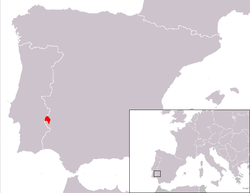 Location o the Olivenza/Olivença territory in the Portuguese-Spainyie border