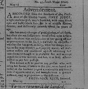 President's House (Philadelphia) - 1796 Runaway Ad for Oney Judge, one of nine enslaved Africans held by Washington at the Philadelphia President's House.