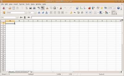 basic spreadsheet with toolbar