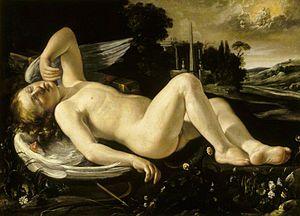 Orazio Riminaldi - Image: Orazio Riminaldi Cupid Asleep Approached by Venus in Her Chariot