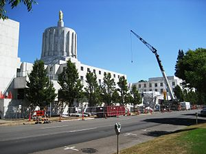 74th Oregon Legislative Assembly - Renovations of the Capitol Building during the session