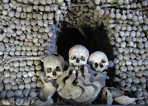 Bones inside the Sedlec Ossuary