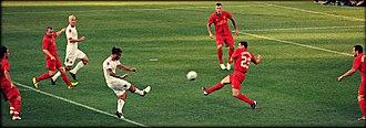 Dani Osvaldo - Osvaldo shoots in a pre-season friendly against Liverpool in 2012