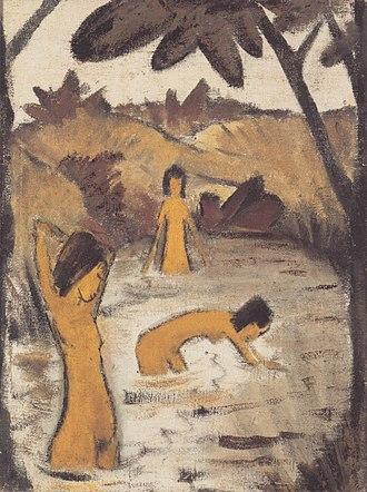 Otto Mueller - Image: Otto Mueller Drei badende im Teich ca 1912
