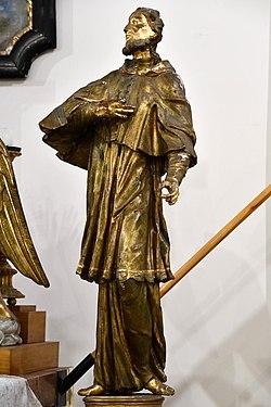 Pér, római katolikus templom, Nepomuki Szent János-szobor 2021 04.jpg