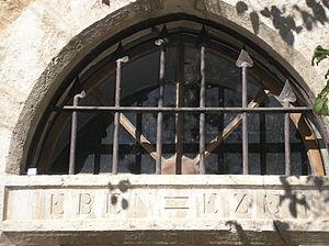 Emek Refaim - Inscription: Eben-Ezer on the Matthaus Frank House