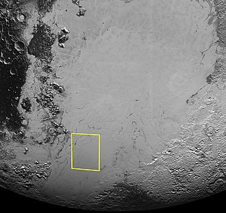 Geology of Pluto - Image: PIA19936 crop Pluto puzzling pits context