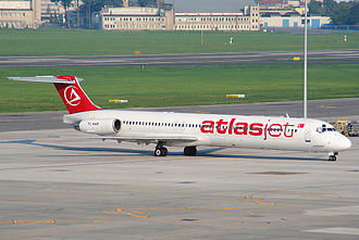 AtlasGlobal - TC-AKM, the McDonnell Douglas MD-83 destroyed in the accident of Atlasjet Flight 4203, at Warsaw Chopin Airport (2007).