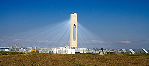 Heliostat - The 11MW PS10 near Seville in Spain. When this picture was taken, dust in the air made the converging light visible.