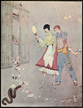 """The Ridiculous Wishes - """"A long black pudding came winding and wriggling towards her"""" Illustration by Harry Clarke."""