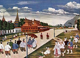 Mandalay Palace - A traditional Burmese painting of Mandalay Palace grounds during the Konbaung dynasty.