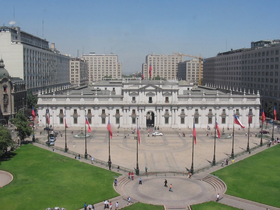 Palacio de La Moneda in downtown Santiago.