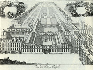 Théâtre du Palais-Royal (rue Saint-Honoré) - View of the Palais-Royal in 1679. The theatre was in the east wing (on the right).