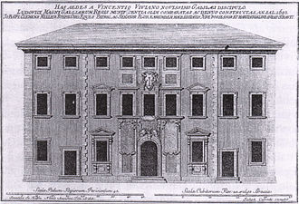 Palazzo dei Cartelloni - 18th century drawing of the palace's facade.