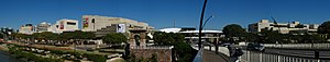 Queensland Cultural Centre - Panorama of the Queensland Cultural Centre – with the Queensland Performing Arts Centre (left) and the Queensland Art Gallery (right), and the Cultural Centre Busway Station, located in Melbourne Street between the two buildings
