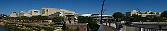 Arts and culture in Brisbane - Panorama of the Queensland Cultural Centre - with the Queensland Performing Arts Centre (left) and the Queensland Art Gallery (right), and the Cultural Centre Busway Station, located in Melbourne Street between the two buildings