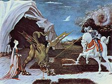 A gothicizing tendency of Uccello's art is nowhere more apparent than in Saint George and the Dragon (c. 1456).