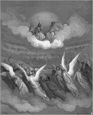 Paradise Lost - Gustave Doré, The Heavenly Hosts, c. 1866, illustration to Paradise Lost.