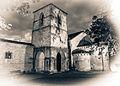 Parador de Cangas de Onis - Iglesia Romanica B&W.jpg