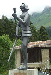 Statua di Jenatsch collocata all'esterno di un albergo di Parpan nel 2000