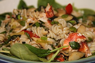 Pasta salad - Image: Pasta salad with lobster, butter beans and chives