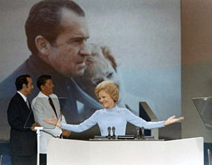 Republican National Convention - First Lady Pat Nixon speaks to the delegates at the 1972 Republican National Convention. She was the first Republican First Lady to do what is now considered common practice.