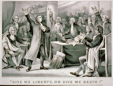 """Scène uit de Tweede Conventie van Virginia, Patrick Henry houdt zijn toespraak: """"Geef me vrijheid of geef me de dood!"""""""