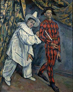 Crystal Cubism - Paul Cézanne, 1888, Mardi gras (Pierrot et Arlequin), oil on canvas, 102 x 81 cm, Pushkin Museum, Moscow