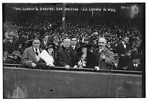 1916 World Series - Paul Joseph Lannin and Dorothy A. Lannin, Ban Johnson, Joseph John Lannin and Hannah Furlong, his wife, at the 1916 World Series
