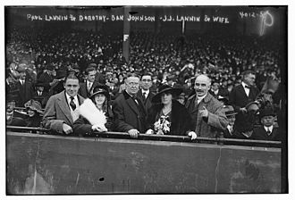 Joseph Lannin - Paul Joseph Lannin and Dorothy A. Lannin, Ban Johnson, Joseph John Lannin and Hannah, his wife, at the 1916 World Series
