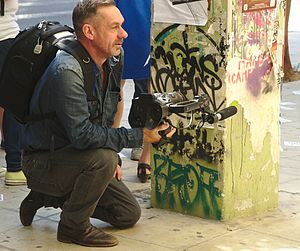 Paul Mason (journalist) - Mason in Athens during Greek elections, reporting for Channel 4 News, 20 September 2015