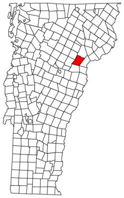 Location of Peacham in Vermont