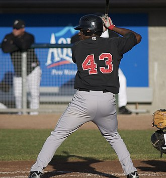 Pedro Báez - Baez as a hitter with the Great Lakes Loons in 2008.