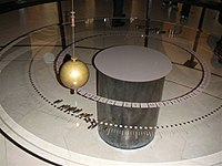 Foucault pendulum at the Musée des arts et métiers (Paris); pegs are placed around and are knocked down as the pendulum swing plane veers. This is the original bob from the 1851 Panthéon pendulum