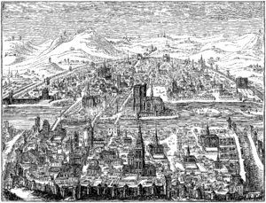 Jacques Champion de Chambonnières - View of Paris in 1607, copperplate engraving by Leonard Gaultier.