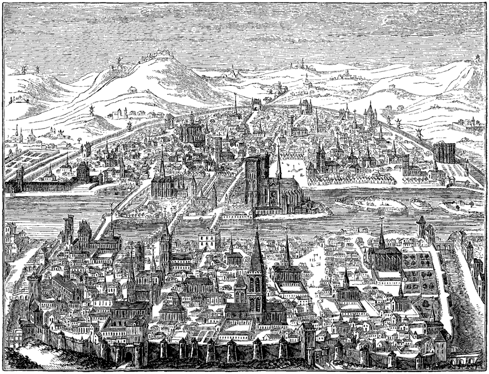 Perspective View of Paris in 1607 Fac simile of a Copper plate by Leonard Gaultier Collection of M Guenebault Paris 2
