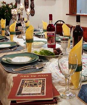 Deutsch: Sedertisch. Festmahl zum jüdischen Pe...