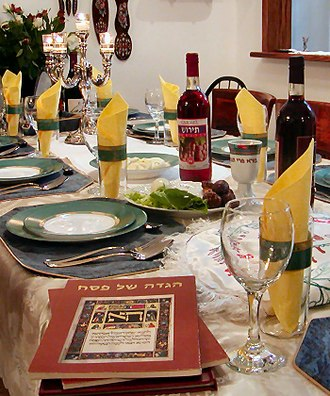 Passover - A table set up for a Passover Seder.