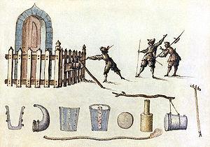 Petard - A petard, from a seventeenth-century manuscript of military designs.