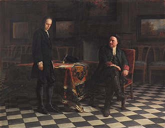 Alexei Petrovich, Tsarevich of Russia - Peter I interrogates Tsarevich Alexei Petrovich at Peterhof, history painting by Nikolai Ge, 1871, Tretyakov Gallery, Moscow