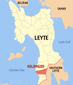 Map of Leyte Province with Hilongos highlighted