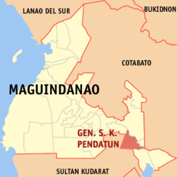Map of Maguindanao with General Salipada K. Pendatun highlighted