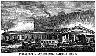 Main Line of Public Works - Image: Philadelphia and Columbia Railroad Depot, Philadelphia 1854