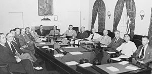 Tom C. Clark - As the Attorney General Tom C. Clark (right), with Truman's cabinet in 1945