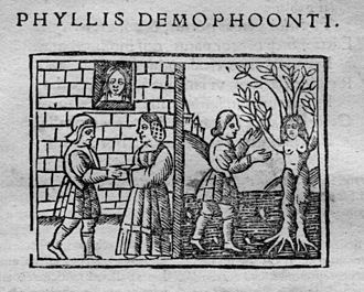 Phyllis - Woodcut of Phyllis and Demophon from Heroides, Venice, early 16th century