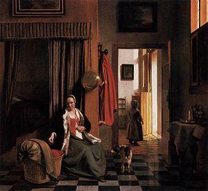 Woman Lacing Her Bodice Beside a Cradle - Image: Pieter de Hooch Mother Lacing Her Bodice beside a Cradle WGA11698