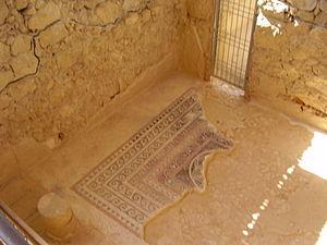 mosaic in massada עברית: פסיפס שהתגלה במצדה, O...