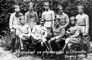 "Otwock - ""The Commandant"" Józef Piłsudski with his legionaries in Otwock in 1915"