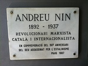 Andrés Nin Pérez - Plaque to Nin on the public library on La Rambla, Barcelona
